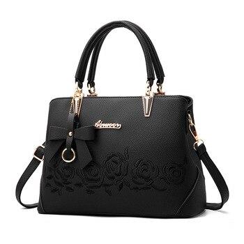 Женская сумка винтажная сумка повседневная сумка-тоут модные женские сумки через плечо топ-женская сумка-кошелек кожа 2018 Новый черный сини...