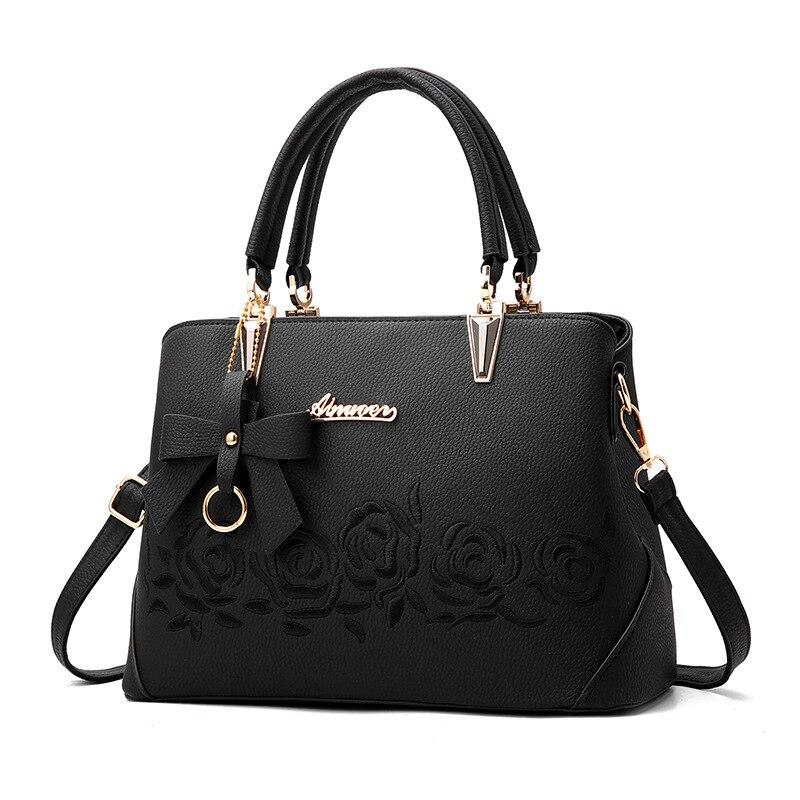 Bolso de mujer Vintage bolso Casual bolso de mano moda mujer bolsos de mensajero hombro Top-Handle monedero de cuero 2018 Nuevo Negro Azul