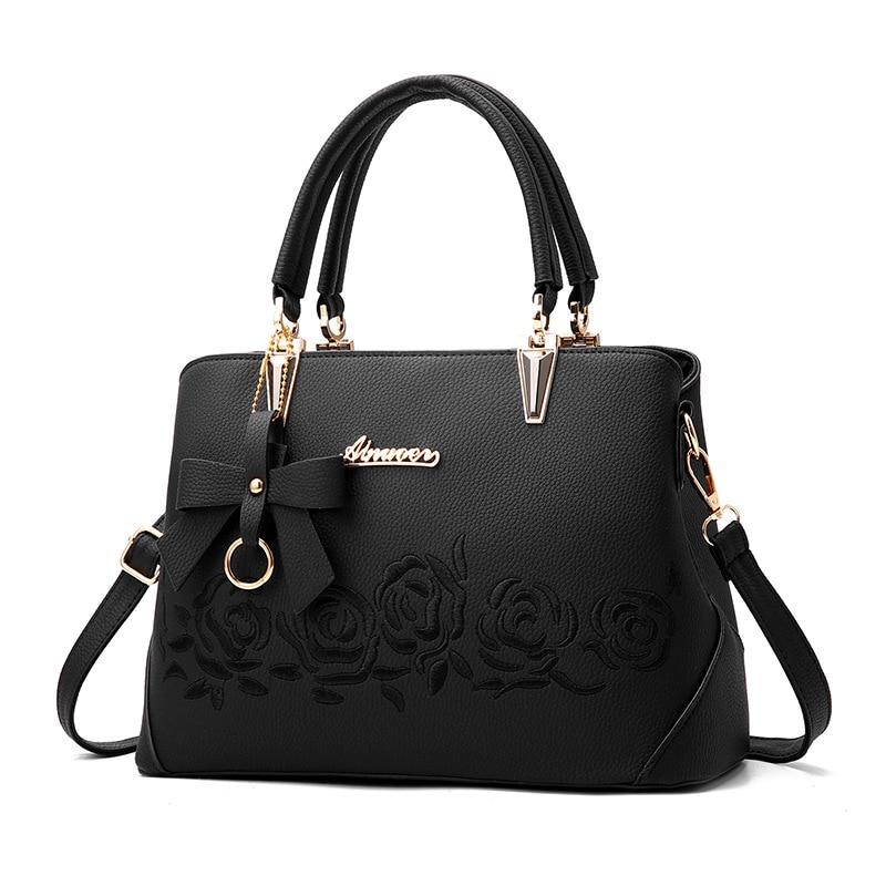 Для женщин сумка Винтаж сумки Повседневное Tote модные женские туфли Курьерские сумки плеча Топ-ручка кошелек кожаный бумажник 2018 Новый цвет: черный, синий