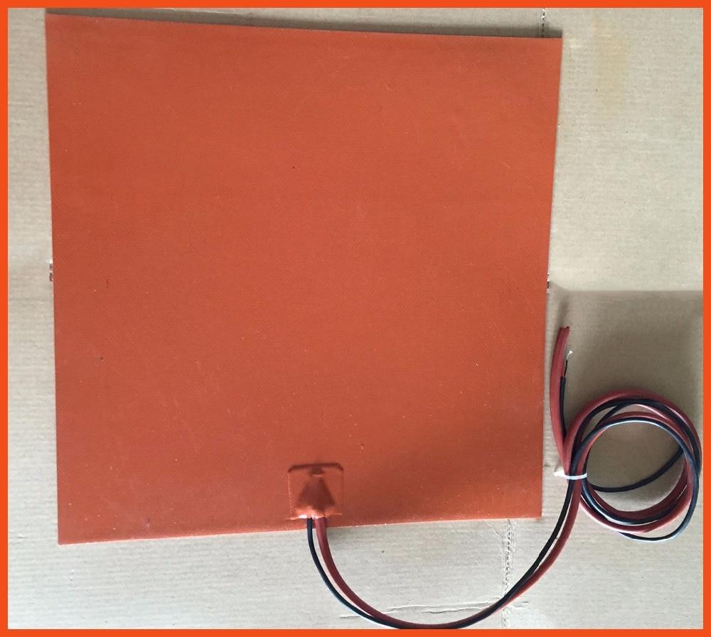 silicone heating pad Gomma di silicone 3d stampante heater 500*500mm 220 v 500 w 3m adhesive filo di piombo 100 k termistore 400 w 240v 245 245mm 3m adhesive piombo filo di silicone flessibile gomma 3d stampante riscaldatore silicone heater element heat