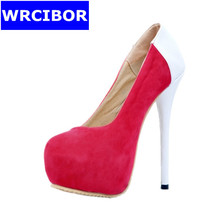 Plus Size 34-47 Women Shoes Pumps Faux Suede platform pointed toe High heels Lady fashion Sexy Thin Heels high-heeled Shoes