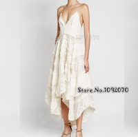 Women Open Back Linen Dot Embroidery Painted Heart Sun Dress V neck Cotton and Silk blend Lace Asymmetrical Midi Dress