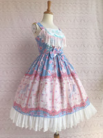 Lolita Dress Sweet Chiffon Jumper Skirt Straps Lace Printed Ruffles Lolita JSK Dress