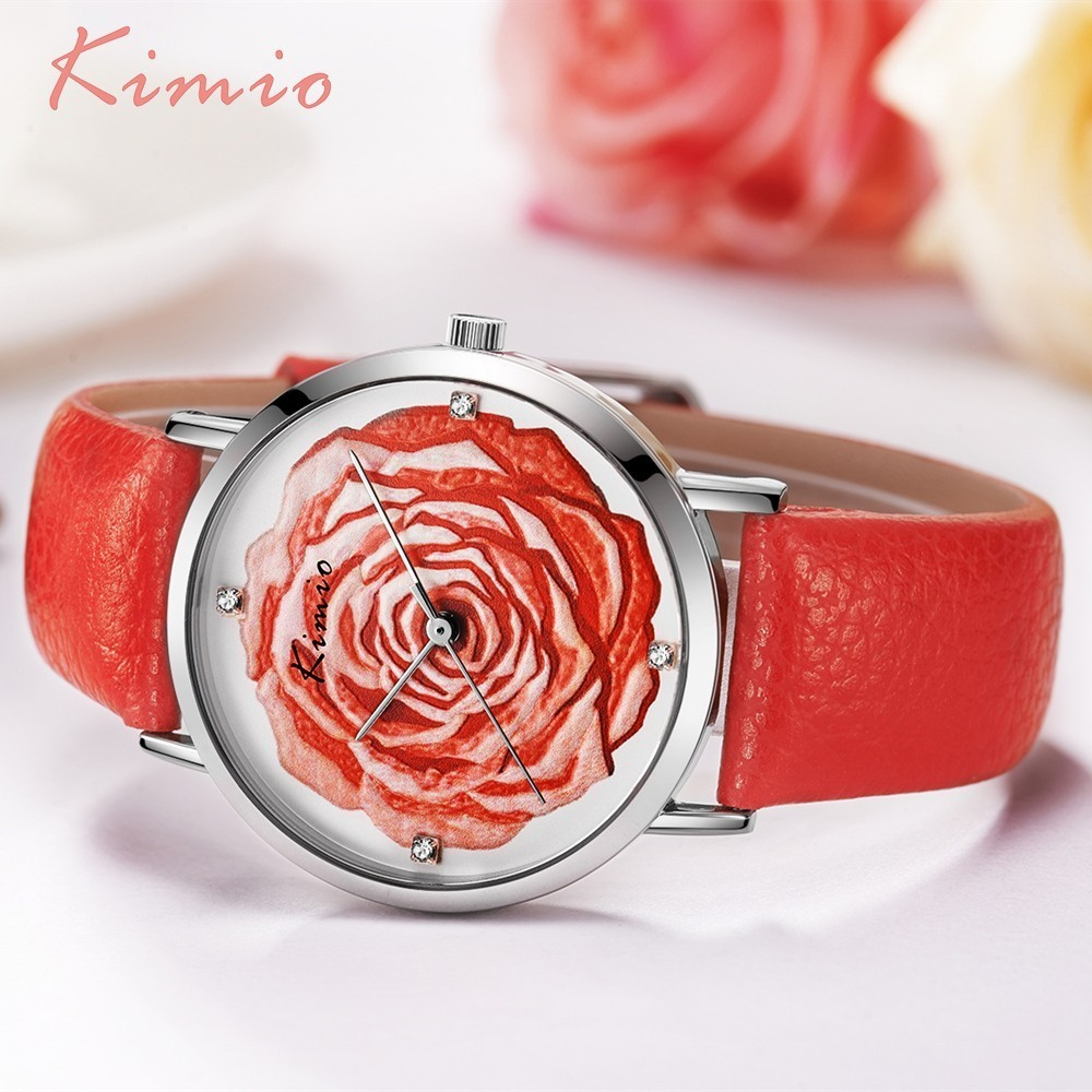 KIMIO 3D Rose Flower Rhinestone Ladies Watch Women Dress Quartz Leather Elegant Watches Women Fashion Watch 2019 Luxury Brand