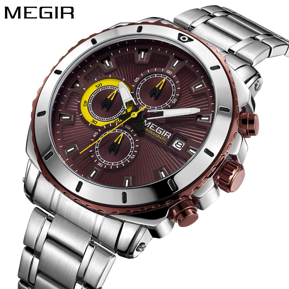 цена на Relojes Hombre 2018 New MEGIR Mens Watches Top Brand Luxury Full Steel Business Quartz Watch Men Military Sport Waterproof Clock