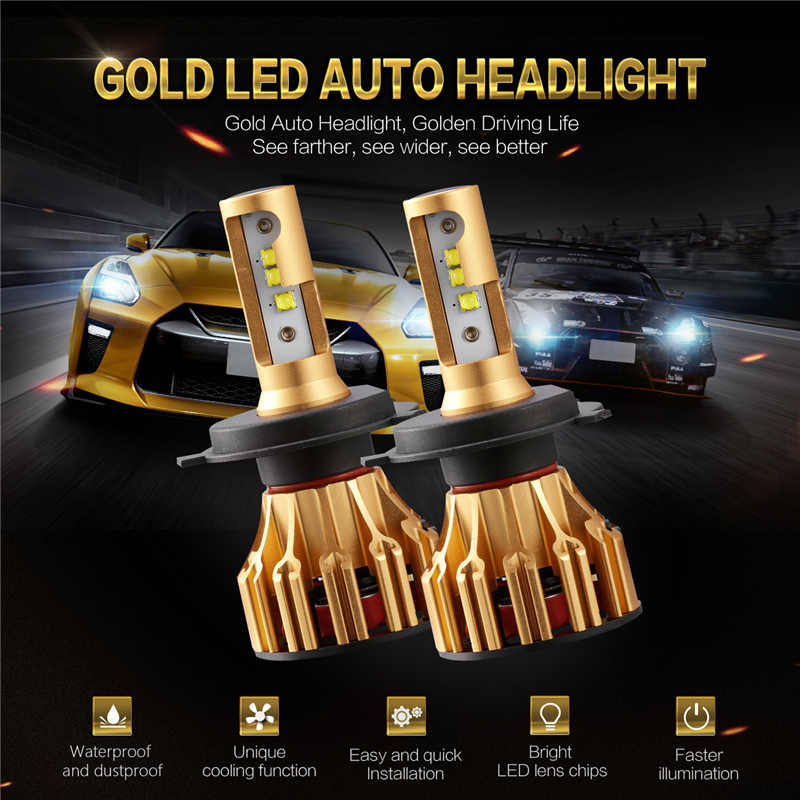 Auxmart Car light H4 LED Bulb for SKODA GOLF SANTANA 2000 Fabia LED Headlight kit 70W 7000lm Hi/Lo Beam LED Lamp 12v 24v h 4