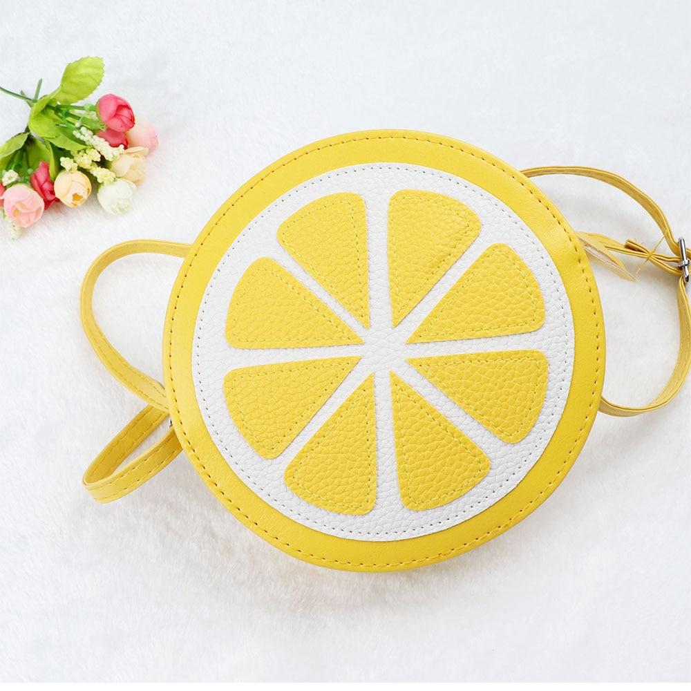 1 Stücke Rund Orange Zitrone Frauen Tasche Zipper Design Kreuz-körper Pu Wasserdichte Handtaschen Geldbörse Dame Schulter Taschen Einkaufen Tasche