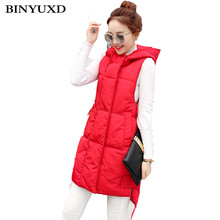 BINYUXD  New fashion Autumn Winter Women Vest Waistcoat Women's Sleeveless long Jacket Cotton Warm Hooded Vest Female Coat vest