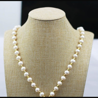 MADALENA SARARA AAA Freshwater Pearl Necklace White Pearl Necklace With AAAA CZ Clasp