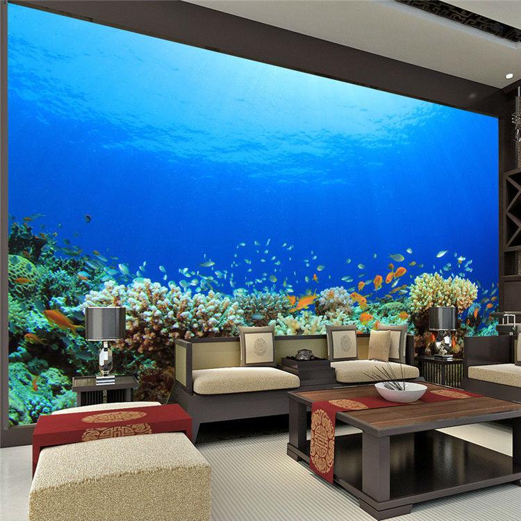 Large Size Custom Wallpaper Ocean Coral Photo Wallpaper Freedom Sea World  Wall Mural Children Room Bedroom