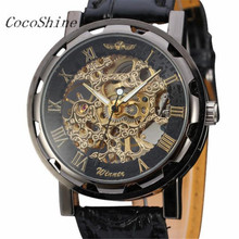 CocoShine A-888 Classic Men's Black Leather Dial Skeleton Mechanical Sport Army Wrist Watch wholesale Free shipping