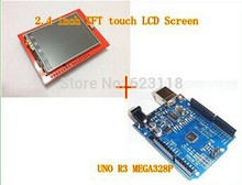 Free Shipping 1lot=2pcs UNO R3 MEGA328P For Arduino +2.4 Inch TFT Touch LCD Screen Module For Arduino UNO