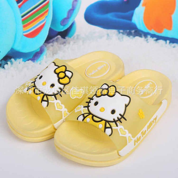 1-12 שנות בנות מקורה כפכפים אמבטיה קטן ילדים יפה Hellokitty נעלי בנות חוף נעלי PU שטוח עקבים החלקה