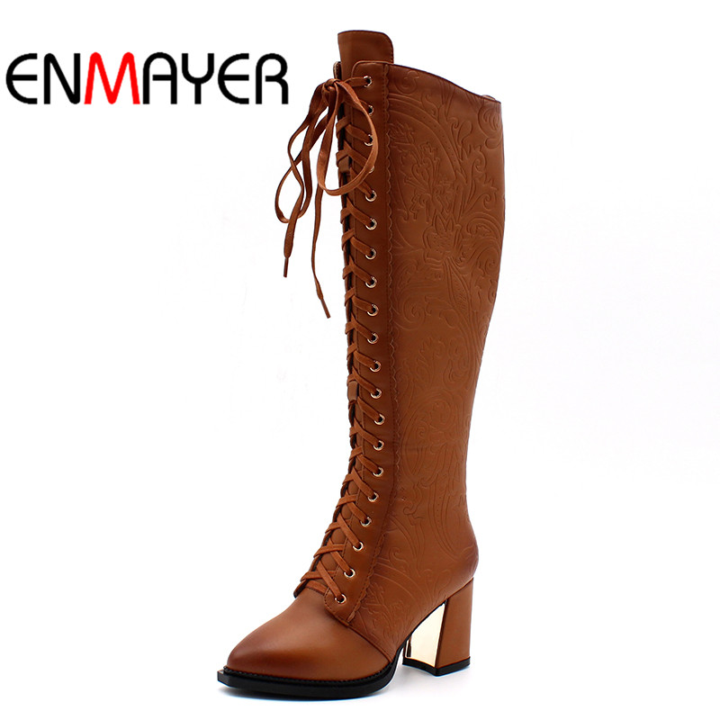 Rivets Warm Large Size34 42 New Fashion Boots Square Heels Women Knee High Boots Sexy Pointed Toe Fur Winter Boots Ladies Shoes new women sexy lace up knee high boots high square heels women boots winter snow boots casual shoes woman large size 34 46