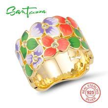 Серебряный цветок кольцо для Для женщин желтый камень ручной работы с эмалированными цветами кольцо Solid 925 Серебряное кольцо Модные украшения
