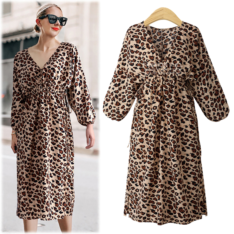 2019 Plus Size <font><b>Sexy</b></font> Autumn Winter <font><b>Dress</b></font> Women Deep V Leopard <font><b>Ladies</b></font> <font><b>Dresses</b></font> Elegant Vintage Beach Party <font><b>Dress</b></font> Robe Vestidos image