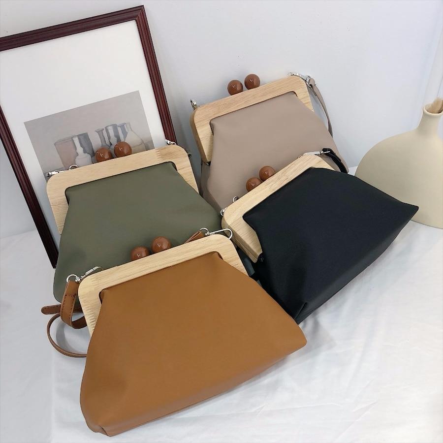 Vintage Wooden Clip Women Shoulder Bags Luxury Pu Leather Crossbody Bag Designer Lady Messenger Bag Clutch Purse Bolso Femenino