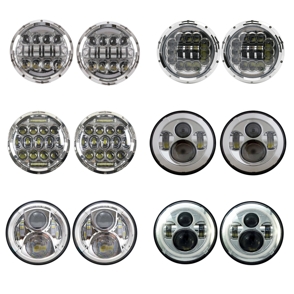 1 pair Universal 7 Led Headlight H4 High Low Beam Round Cars Running Lights for Jeep