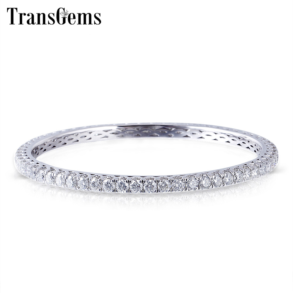 Transgems Solid 10K White Gold 6CTW 3MM GH Color Moissanite Bangle for Women Wedding 1 PCS Size 17 Ladies Gift