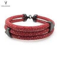 Lyxury DIY человек изделия три круглые красный ската браслет 925 стерлингов Серебряные ювелирные изделия серебряный браслет Для Мужчин's stingray бра