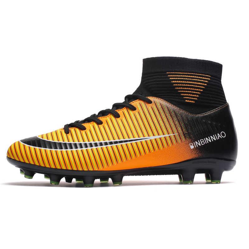Zhenzu Outdoor Pria Sepatu Sepak Bola Anak-anak Anak-anak Cleat Sepak Bola Sepatu Bot Panjang Paku Olahraga Sneakers Ukuran 35-44 Scarpe Da calcio