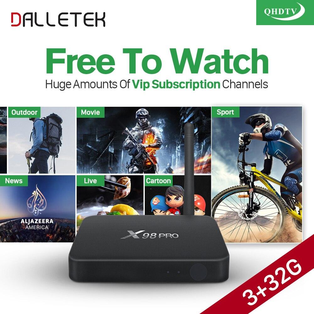 Dalletektv X98PRO S912 Smart Android 6.0 tv Box 3g ram IPTV QHDTV 1 Year HD IPTV Europe Arabic Channels VIP Subscription