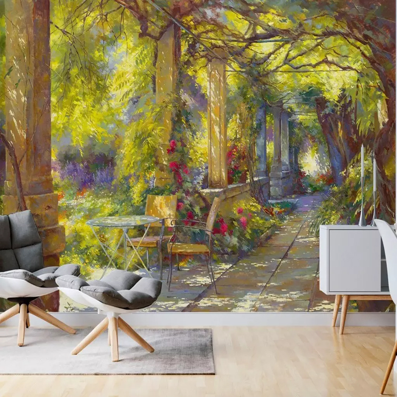 Custom Photo Wallpaper Green Plant Garden Shade Path Table Murals Living Room TV Sofa Background Wall Cloth Papel De Parede 3D