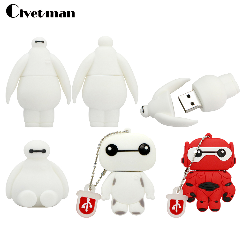 Full Capacity Pen Drive Cartoon Big Hero 6 BAYMAX USB Flash Drive 4GB 8GB 16GB 32GB 64GB Mini Cute Memory Stick USB Drive U Disk