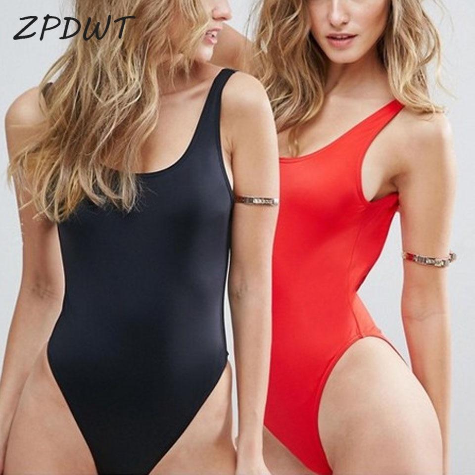 ZPDWT Black Bathing Suit Red Swimwear Women Sexy Bodysuit Solid Swimsuit 2018 Monokini Maillot De Bain Femme Une Piece Bather sweet spaghetti strap solid color two piece swimsuit for women