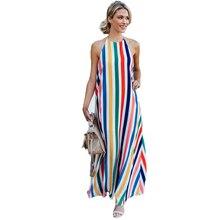 ecfbc83168f hirigin Women Boho Beach Summer Sundress Halter Sleeveless Rainbow Colours Maxi  Dress