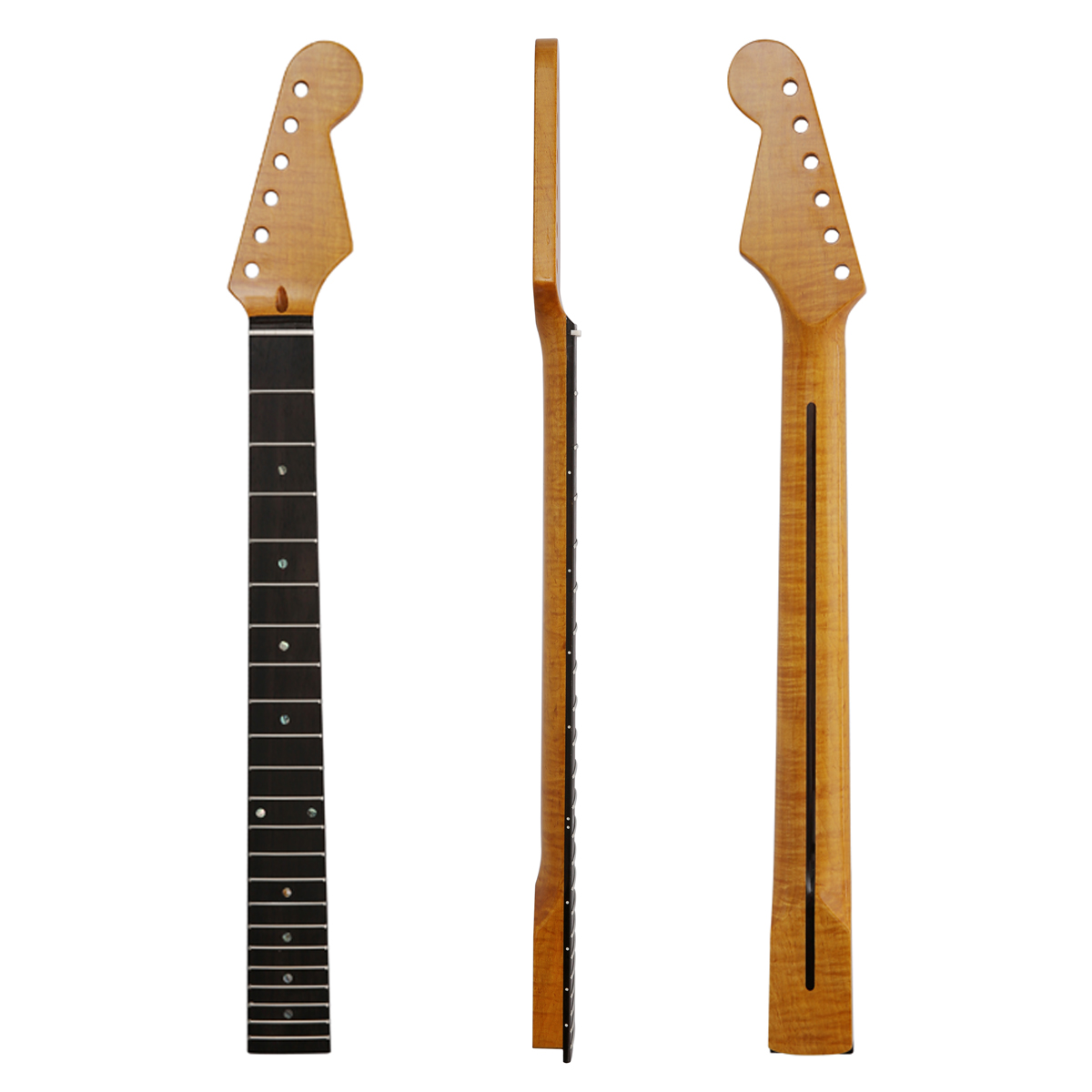 Dopro 22 Fret Canadian Highly Tiger Flamed Maple Strat Neck with Rosewood Fingerboard Abalone Inlay Bone Nut for StratocasterDopro 22 Fret Canadian Highly Tiger Flamed Maple Strat Neck with Rosewood Fingerboard Abalone Inlay Bone Nut for Stratocaster