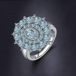 Image 2 - Gems Ballet Natural Sky Blue Topaz Gemstone Ring 925 Sterling Silver Vintage Flower Rings For Women Fine Jewelry