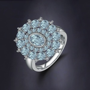 Image 2 - อัญมณีบัลเล่ต์ธรรมชาติ Sky Blue Topaz แหวนพลอย 925 เงินสเตอร์ลิงแหวนดอกไม้สำหรับเครื่องประดับ