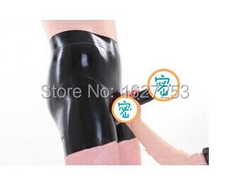 Látex calzoncillos de cintura alta de goma ropa interior adjunta condón hombre del boxeador de látex con condón condón