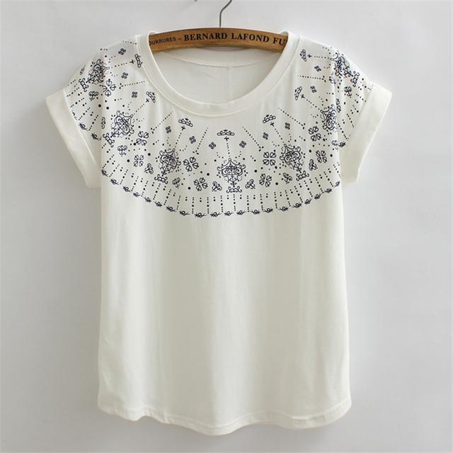 2017 New Summer Aztec Print Tops Short Sleeve Fashion T-shirts