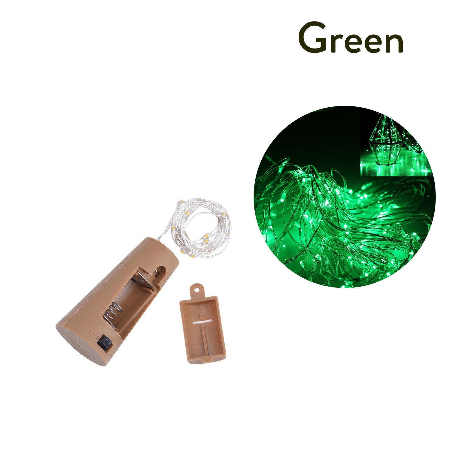 10 20 30 светодиодный s пробковый светодиодный светильник, медная проволока, праздничный уличный Сказочный светильник s для рождественской вечеринки, свадебного украшения - Испускаемый цвет: Зеленый