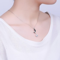 S S925 silver Pendant Fashion Silver Necklace female factory direct sale of an angel wing. Female silver