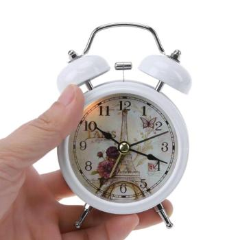 Vintage Alarm Clock with Double Bells Silent No Ticking Desk Table Metal Alarm Clock Battery Operated Bedroom Office Clocks
