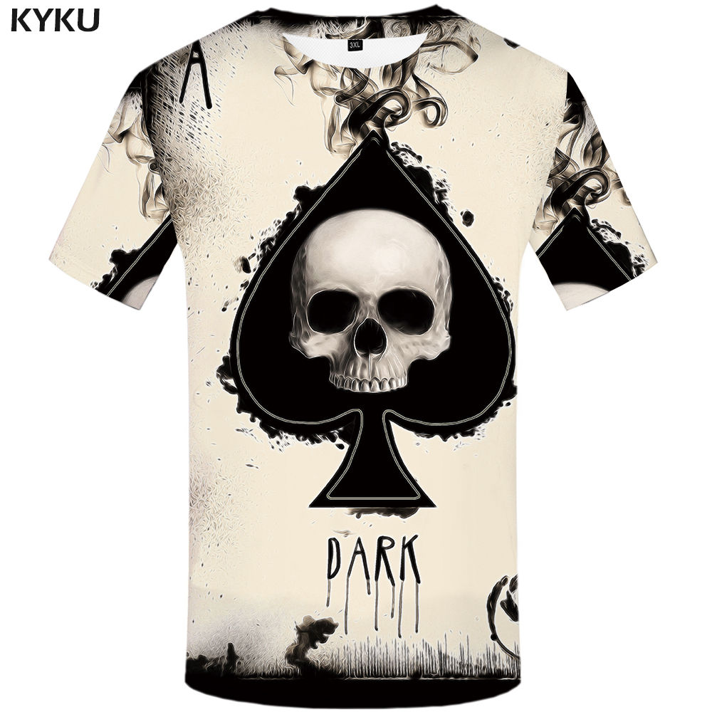 KYKU Skull Tshirt Men Card T-shirt Punk Rock Clothes White Ink 3d Print T Shirt Funny Anime Mens Clothing New Casual Summer Tops