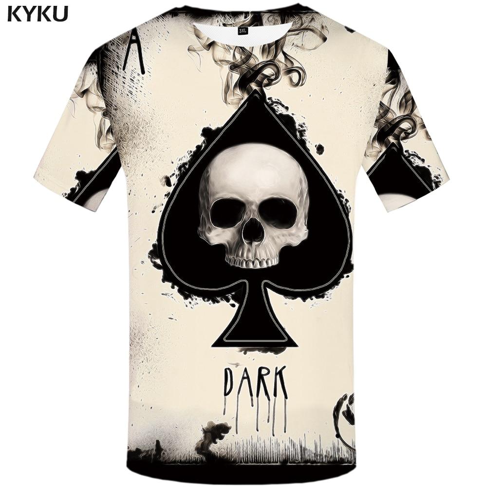 KYKU Skull Tshirt Men Card T-shirt Punk Rock Clothes White Ink 3d Print T Shirt Funny Anime Mens Clothing New Casual Summer Tops