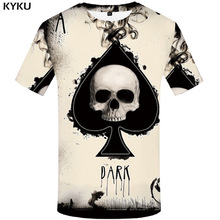 KYKU Skull Tshirt Men Card T-shirt Punk Rock Clothes White Ink 3d Print T Shirt Funny Anime Mens Clothing New Casual Summer Tops men ink painting print tshirt