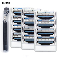 JIEFUXIN 12pcs Men Razor Blades 1pcs Razor Holder Face Care Manual Shaving Razor Blade Safe Blades