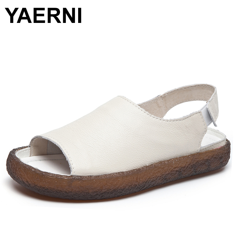 YAERNI 2018 New Summer Genuine Leather Women Flats Sandals Casual Slip On Summer Shoes Woman Retro