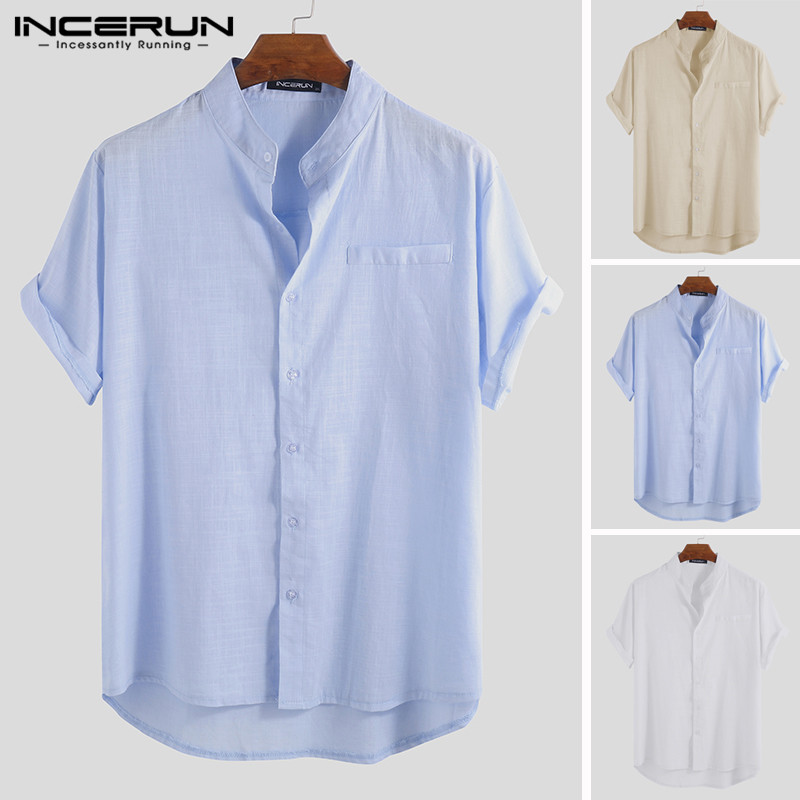 INCERUN 2019 Short Sleeve Men Shirt Stand Collar Cotton Button Up Solid Casual Brand Shirts Men Tops Harajuku Camisa Streetwear