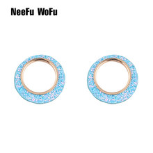 NeeFu WoFu 12 Color Flash leather Earrings Round Big Earrings for Woman Copper Earring Ring Large Brincos Oorbellen Leopard(China)