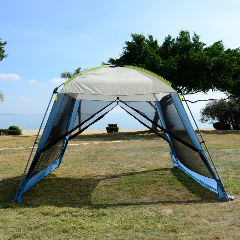 Free shipping double layer awning beach tent sun shelter gazebot UV protect sunshade c&ing tent without floor mat-in Sun Shelter from Sports ... & Free shipping double layer awning beach tent sun shelter gazebot ...