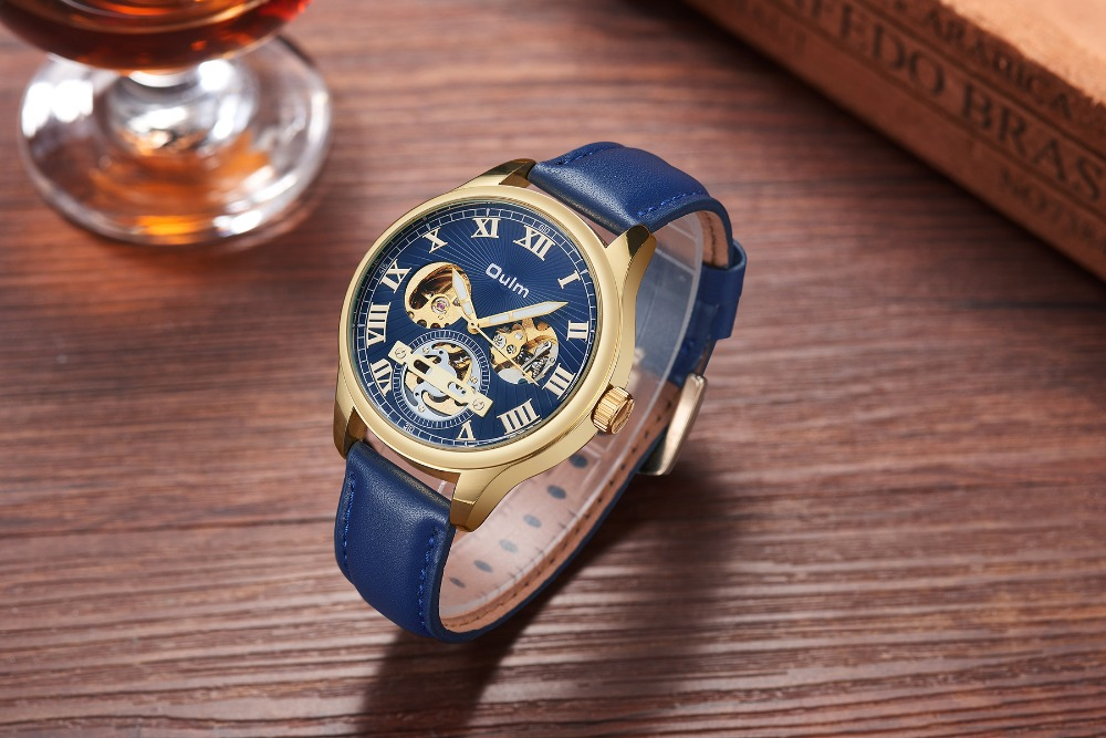 Watches Oulm Classic Golden Skeleton Mechanical Watch Men Genuine Leather Strap Top Brand Luxury Man Watch Vip Drop Shipping Wholesale Mechanical Watches