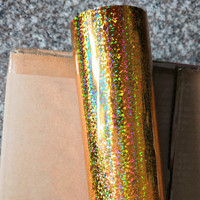 Hot stamping foil holographic foil gold cat eye pattern hot press on paper or plastic heat transfer film 64cm x 120m