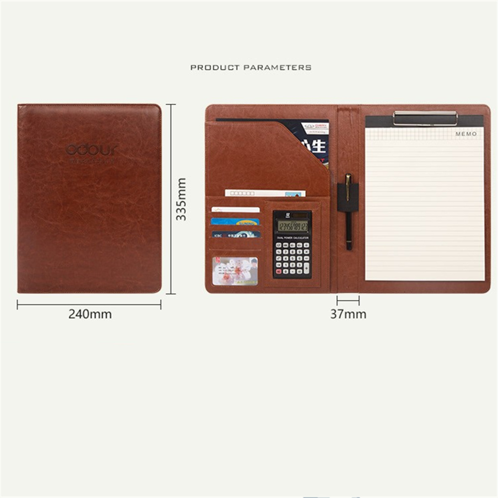 New High Quality Leather Portfolio A4 Documents Folder Cases Manager Bag Business Floder with 12-Bit Calculator black brown business zipper pu leather portfolio a4 documents folder cases manager bag tablet pc mobile padfolio binder