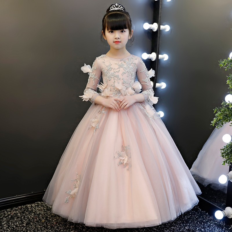 Princess Girl's Dress 2018 Flower Kids Girl Gowns Child Beading Mesh Ball Gowns Kids Pink Holy Communion Dresses 3-13Years S16 купить дешево онлайн